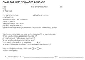 Claim for luggage
